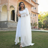 white georgette suit with chiffon dupatta