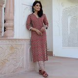 handblock printed kurta set for women