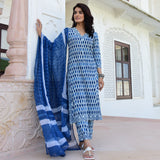 hand block printed blue cotton suit with chiffon dupatta