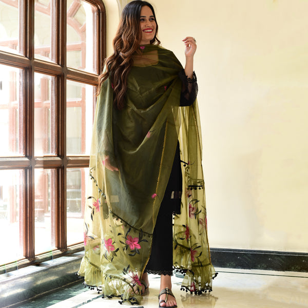 black suit with olive green dupatta,buy black suit for women online
