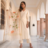 ivory cotton suit with doriya handpainted cape