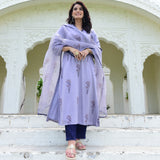 suit set with modal satin kurta,cotton pants and organza dupatta