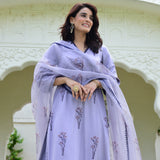 lilac suit set with modal satin kurta, cotton pants and organza dupatta