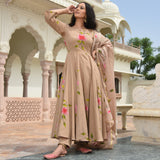 hand painted cotton suit with doriya dupatta