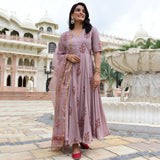 pink modal satin suit set with organza dupatta