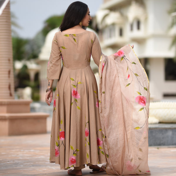 beige cotton suit  with doriya dupatta