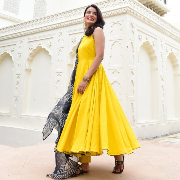 grab yellow color suit for women , yellow suit with black dupatta