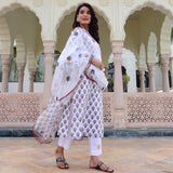 polka and butti cotton suit