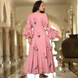 tapestry art pink cotton dress with bell sleeves