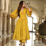 yellow color dress for women,dress with bell sleeves