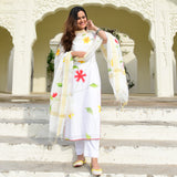 white cotton suit with handpainted doriya dupatta