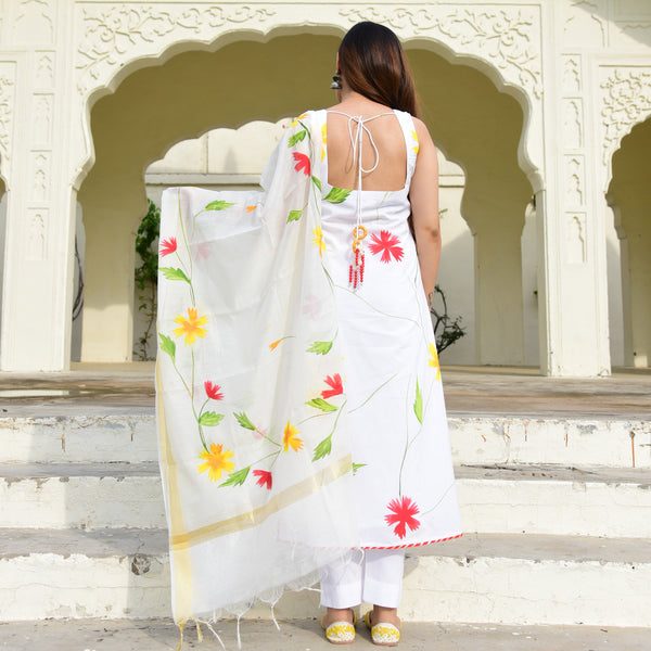 shop now white cotton suit with handpainted dupatta at best prices