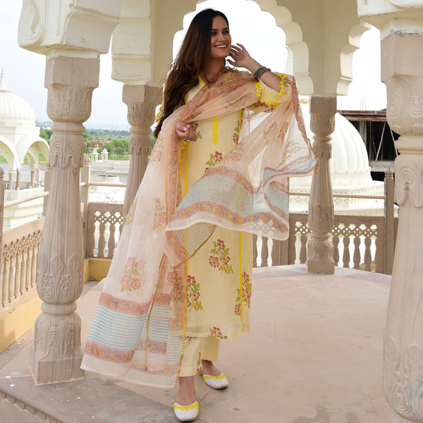yellow cotton suit with organza dupatta