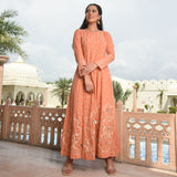 orange coloured kurta ,kurta set for women