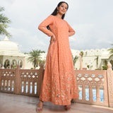 kurta set for women,orange kurta for women,cotton orange kurta,cotton kurta with gota work