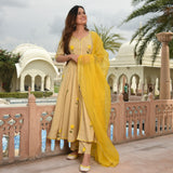 yellow hand painted cotton suit for women , cotton suit with organza dupatta