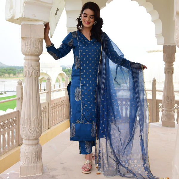 blue color suit for women online,block print blue suit with organza dupatta