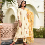 Shop Beige Cotton Suit Set online at best prices