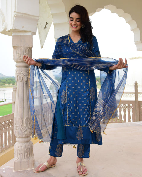 shop blue color suit with dupatta online