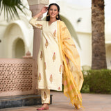 beige paisley cotton suit set