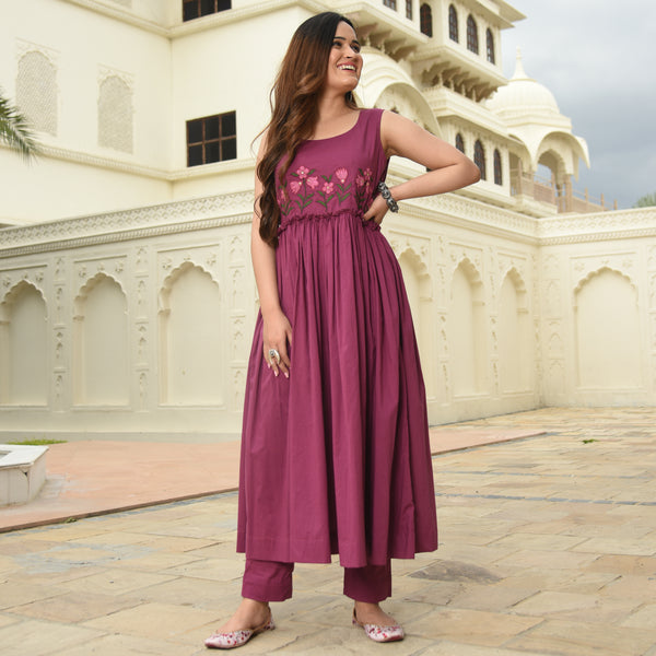 Dry Rose Cotton Kurta Set
