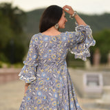 blue printed kurta with palazzo online