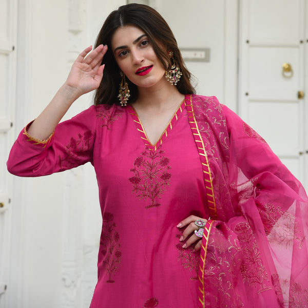 Beet Root Gold Munga Silk Suit