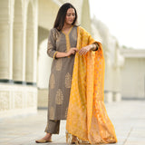 Shop embroidered cotton suit with banarsi style dupatta