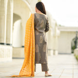Grey yellow cotton suit with golden embroidery