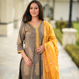 Grey Yellow cotton suit with banarsi dupatta