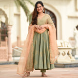 green cotton suit with peach organza dupatta