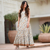 get white hand block printed dress at best prices