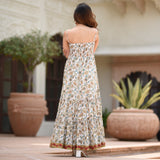 white hand block printed tier dress for women online