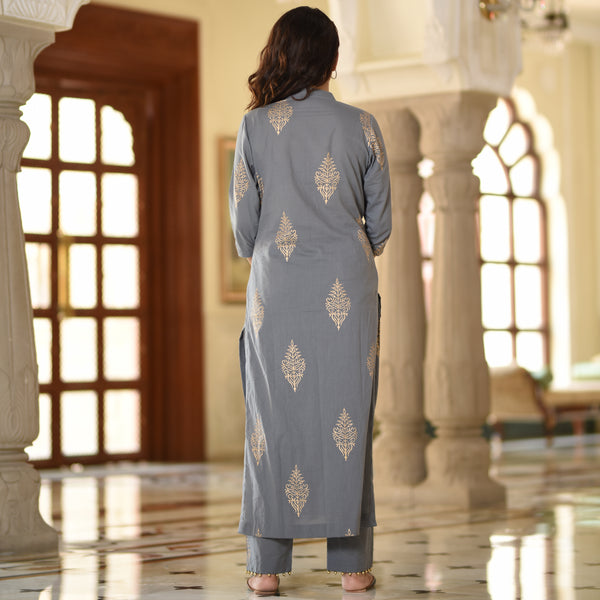 Straight Grey Cotton Kurta Set