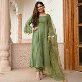 green colored doriya suit set with organza dupatta