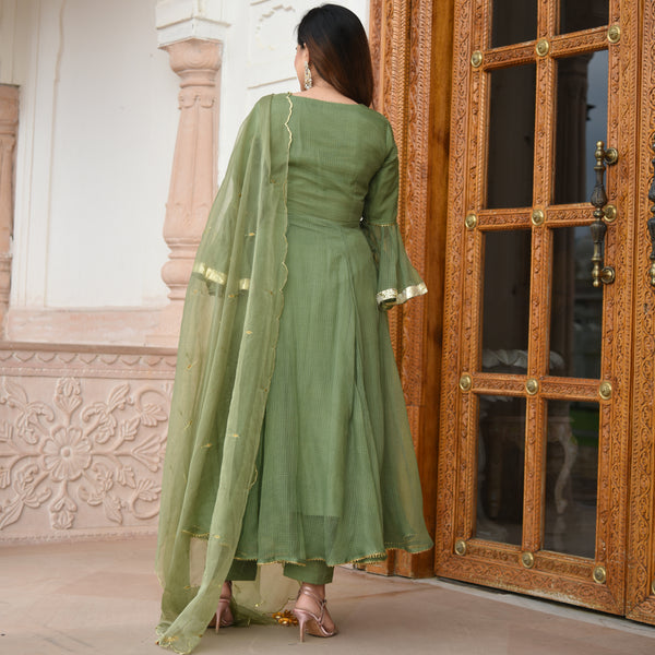 shop green colored suit set online for women