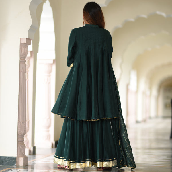 green color sharara set with dupatta