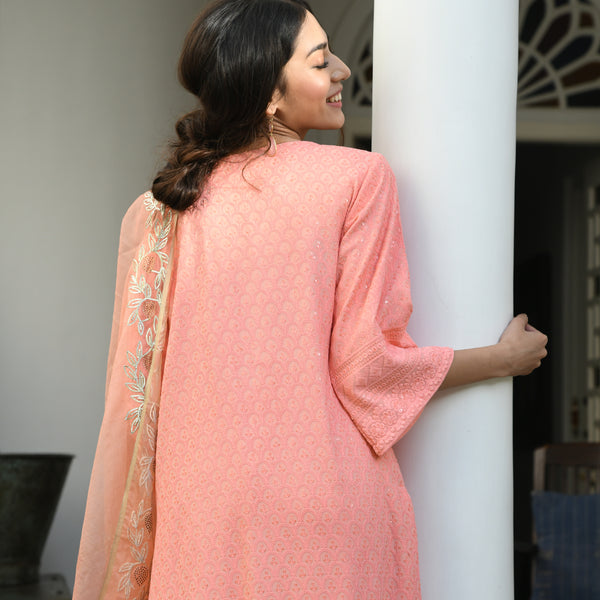 buy peach chikankari cotton suit with organza dupatta at best prices