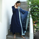 get blue chikankari kurta with organza dupatta at best prices