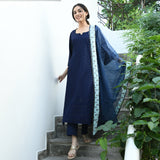blue cikankari kurta with cotton pants and organza dupatta