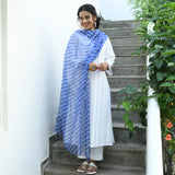 White Blue machine chikankari suit with doriya dupatta