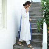get blue white chikankari suit set online at best price