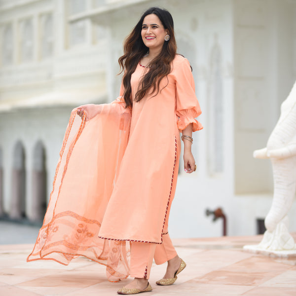 amazing quality peach colored suit for women