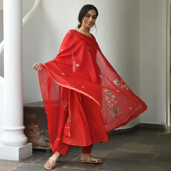 red cotton suit set  , cotton suit with chanderi dupatta