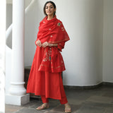 shop red cotton suit with chanderi dupatta at best prices