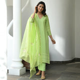 green chikankari suit for women , green suit set online