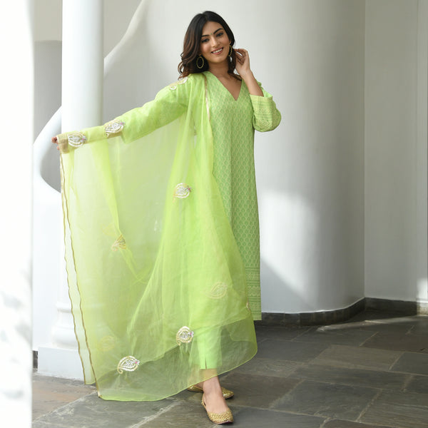 green cotton suit with organza dupatta