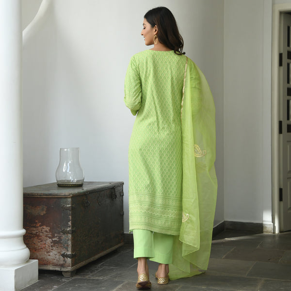 green chikankari cotton suit set online at best prices,suit set with pants online for women
