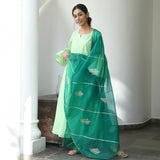 shop green colored cotton suit with organza dupatta at best prices
