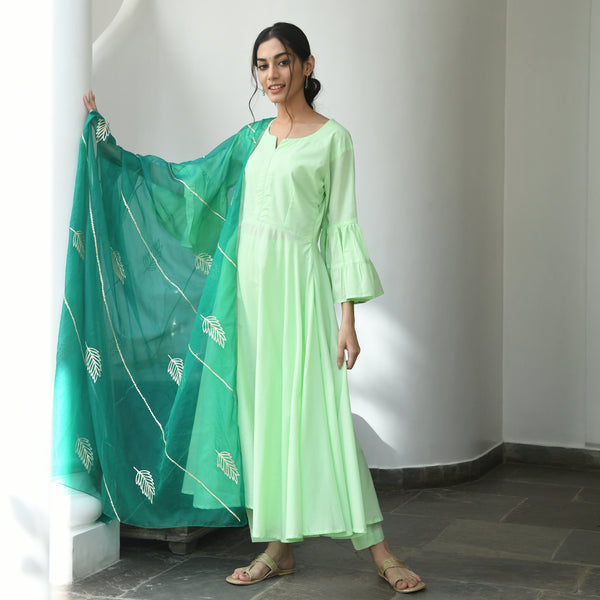 cotton green suit set with organza dupatta